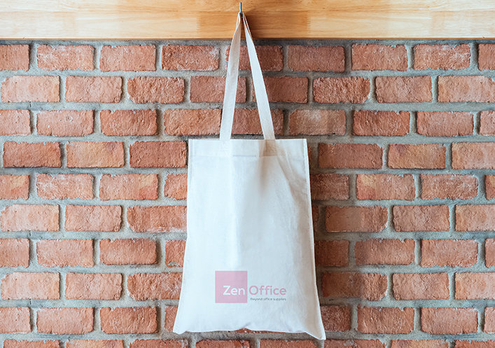 ZenOffice Valentine's branded tote bag
